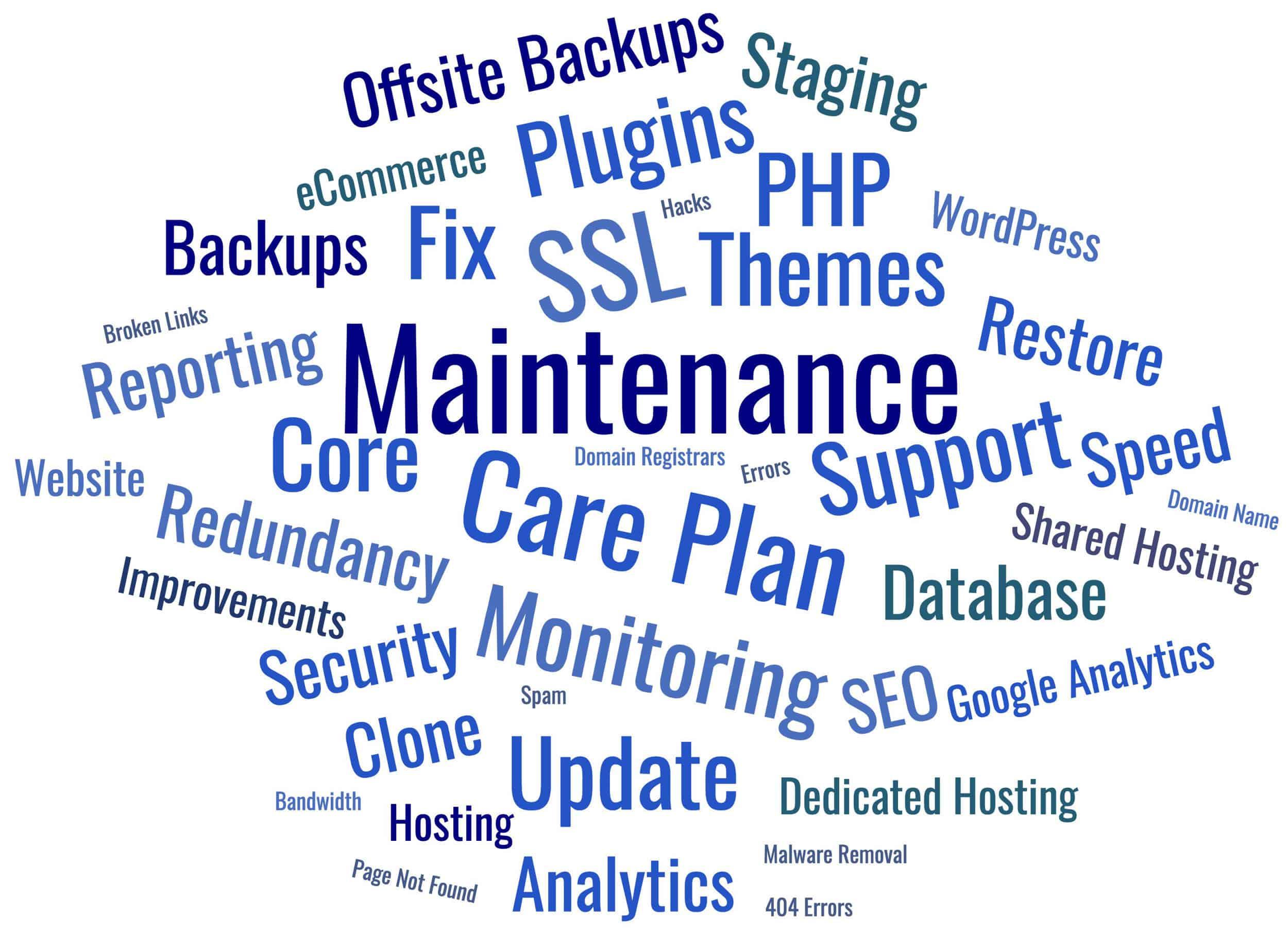Words describing Website Maintenance - Updates, Backups, Security, Monitoring, Staging, Restore, Offsite Backups, Hosting