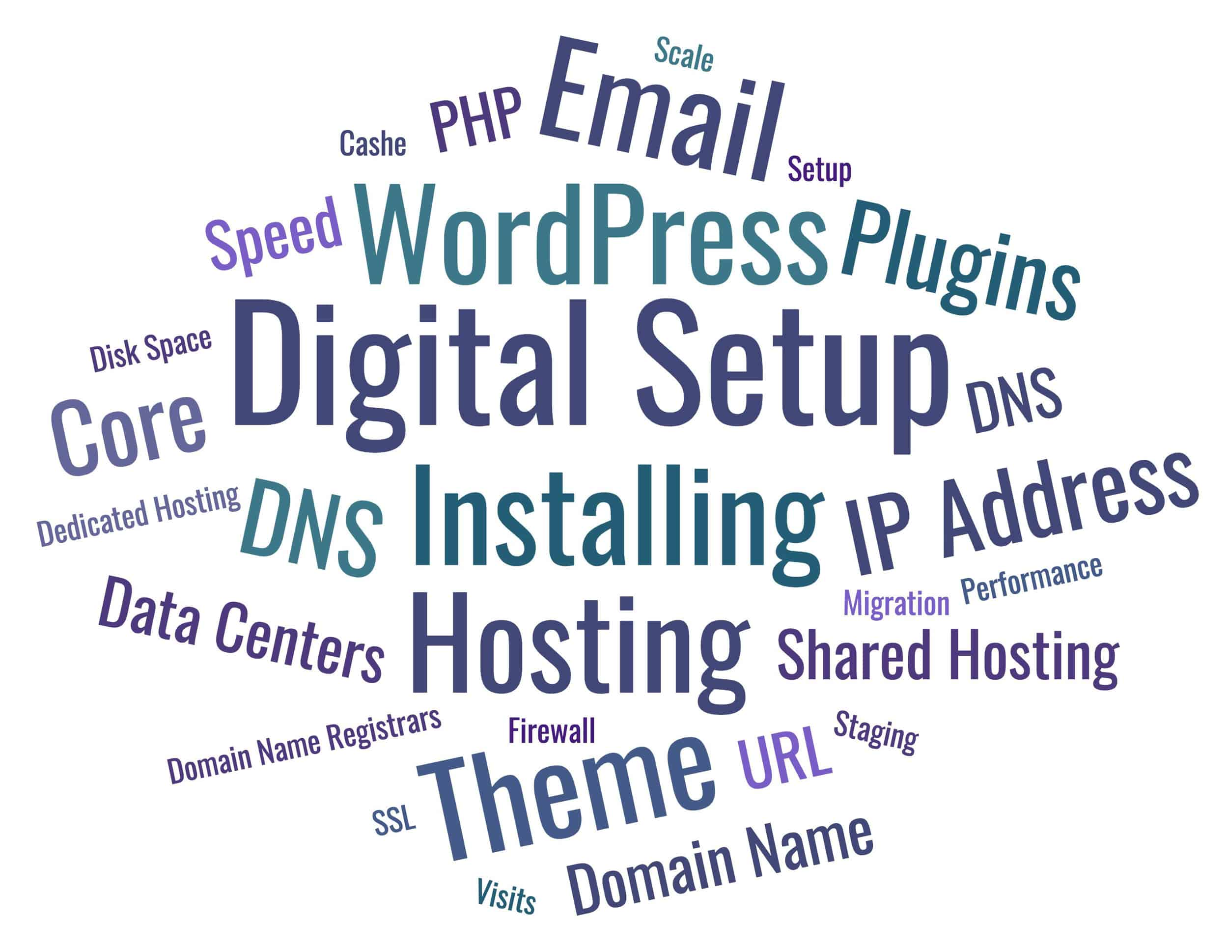 Words describing Digital Setup – WordPress, Installing, Hosting, Email, Theme, DNS, Plugins, PHP, SSL