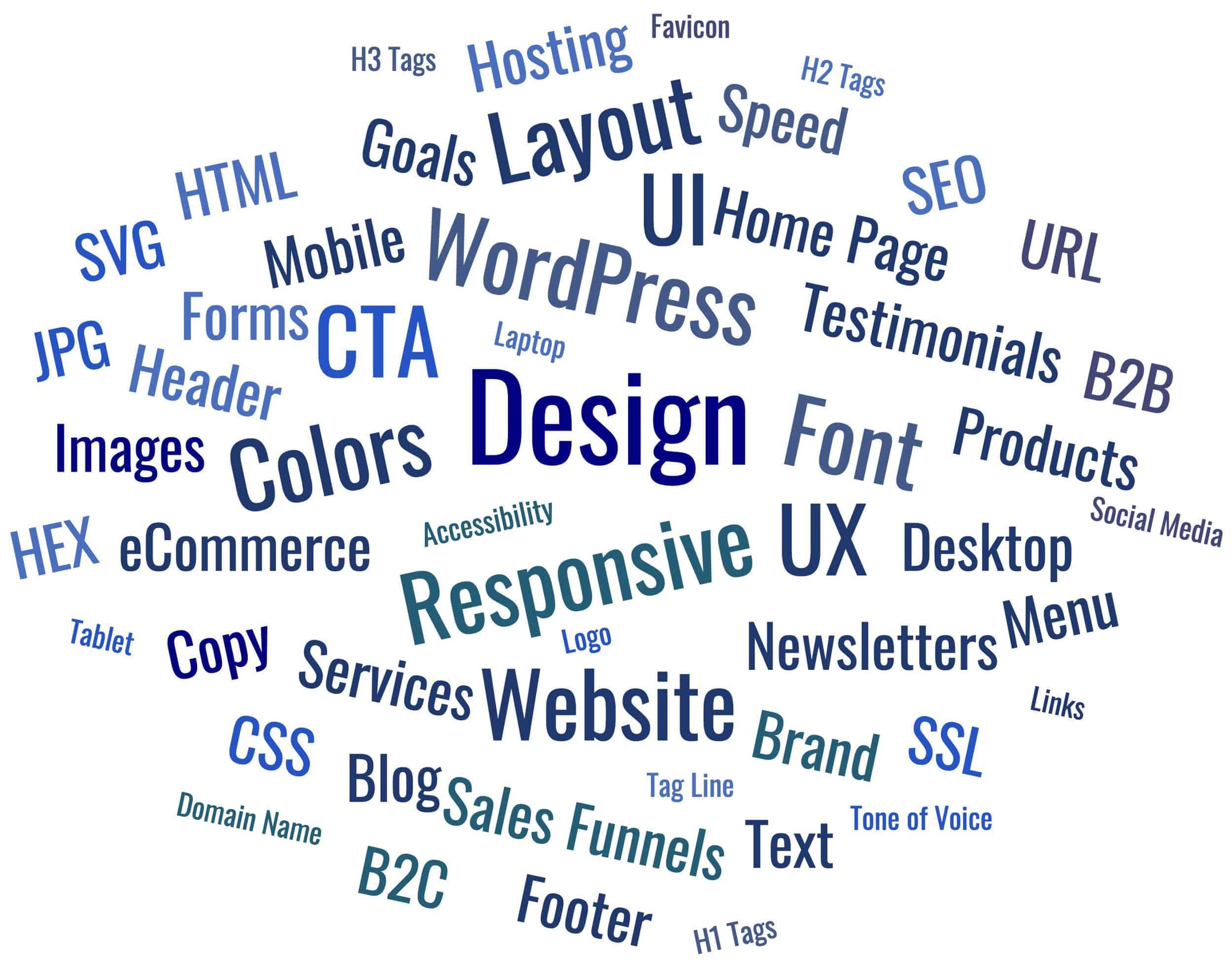 Words describing Website Design - Layout, Responsive, Font, Images, Colors, Menu, Footer, Header, Text, UX, UL