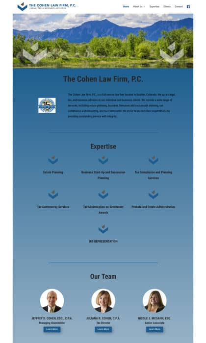 Example of a small business website